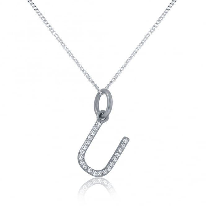 Sterling Silver Cubic Zirconia Initial U Pendant And Chain