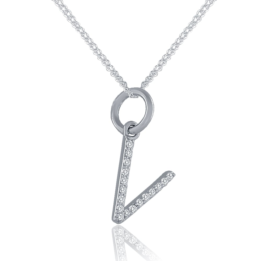 Sterling silver cubic zirconia initial v pendant and chain mozeypictures Image collections
