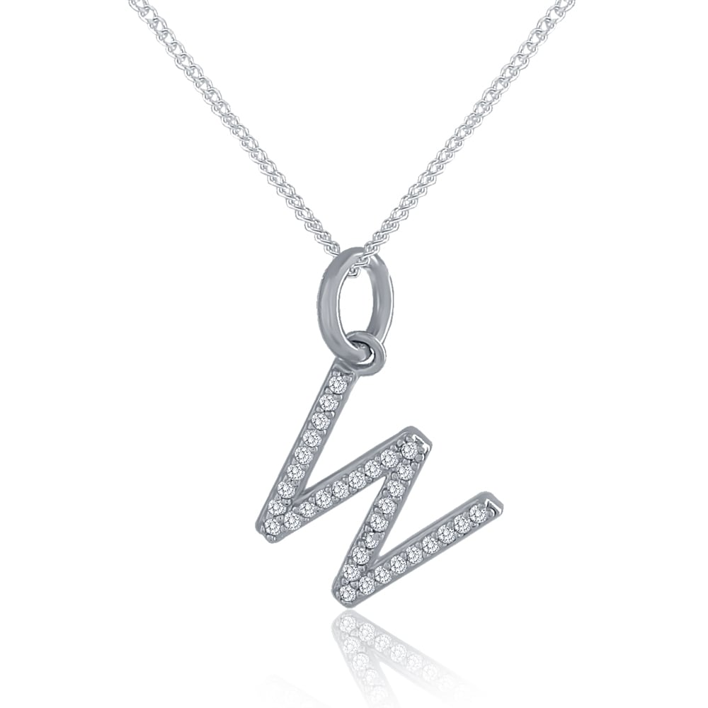 Sterling silver cubic zirconia initial w pendant and chain all sterling silver cubic zirconia initial w pendant and chain aloadofball Image collections