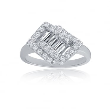 Sterling Silver Cubic Zirconia Interlocking Square Ring