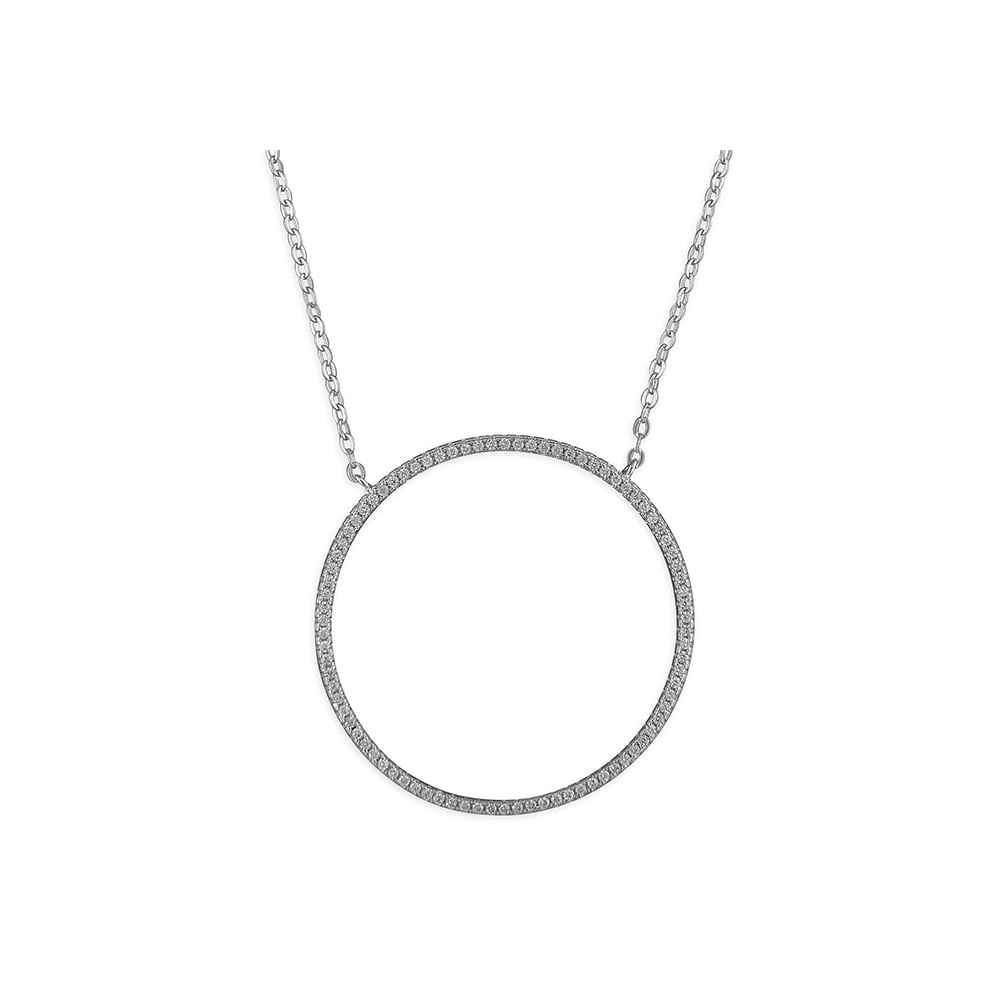 Sterling silver cubic zirconia large open circle necklace pendants sterling silver cubic zirconia large open circle necklace mozeypictures Image collections