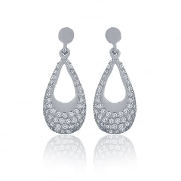 Sterling Silver Cubic Zirconia Loop Drop Earrings