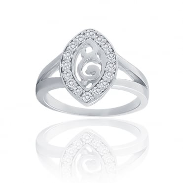 Sterling Silver Cubic Zirconia Marquise Shape Swirl Ring