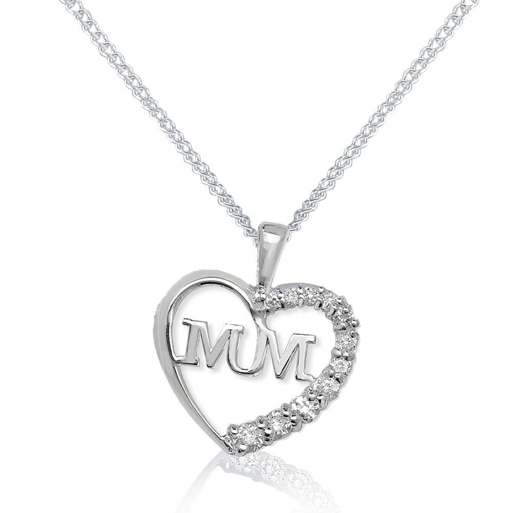 Sterling silver cubic zirconia mum heart pendant and chain aloadofball Image collections