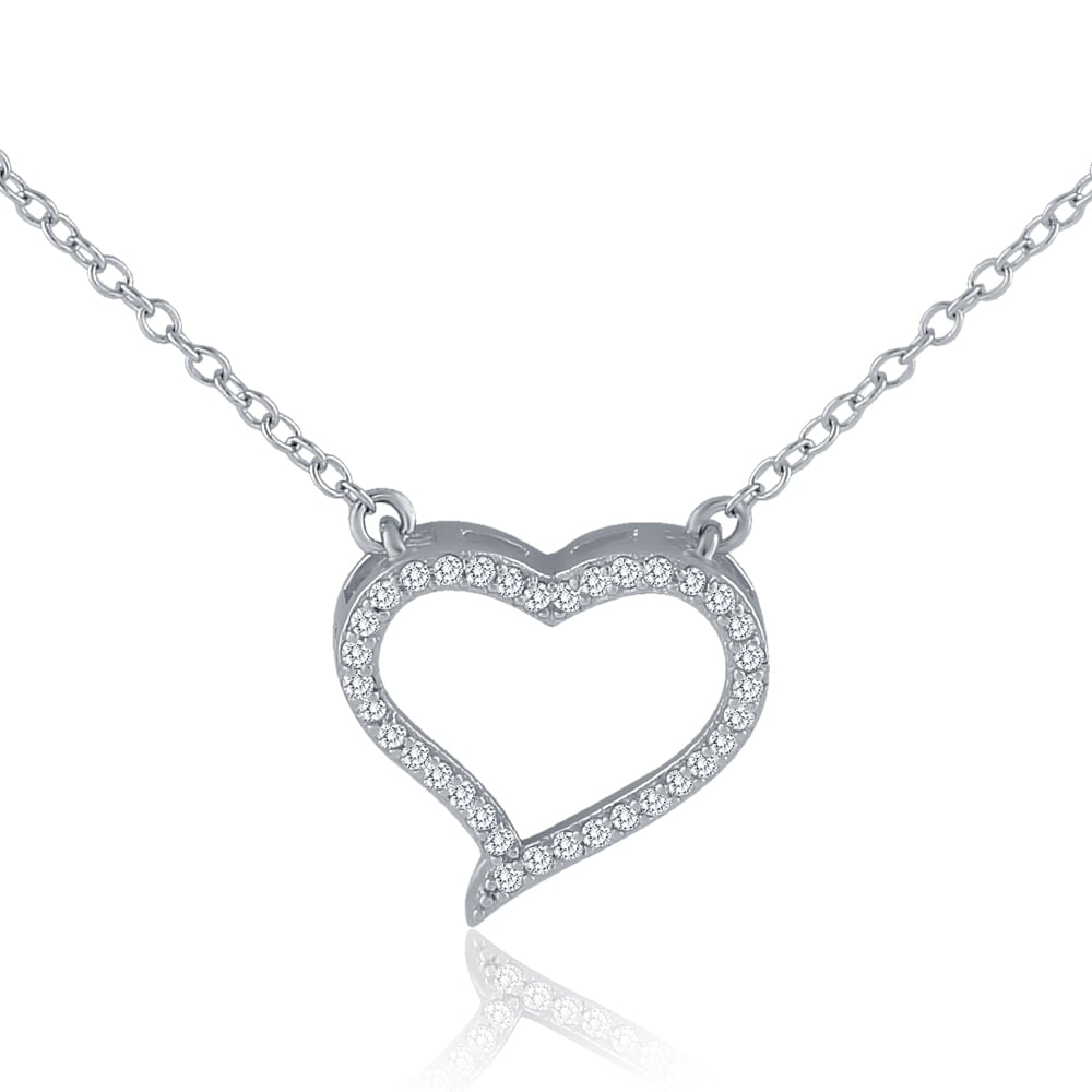 diamond pendant michaels heart lee fine jewelry open gold necklace white