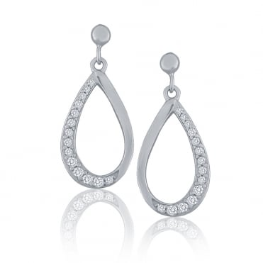 Sterling Silver Cubic Zirconia Open Loop Drop Earrings