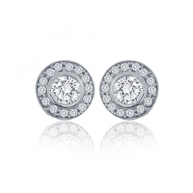 Sterling Silver Cubic Zirconia Round Cluster Stud Earrings