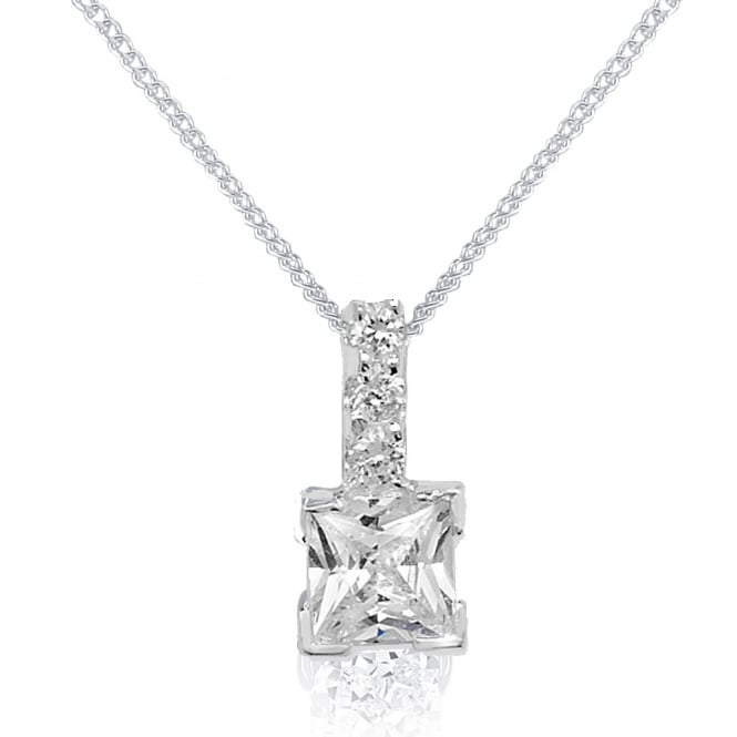 Sterling Silver Cubic Zirconia Square Drop Pendant And Chain