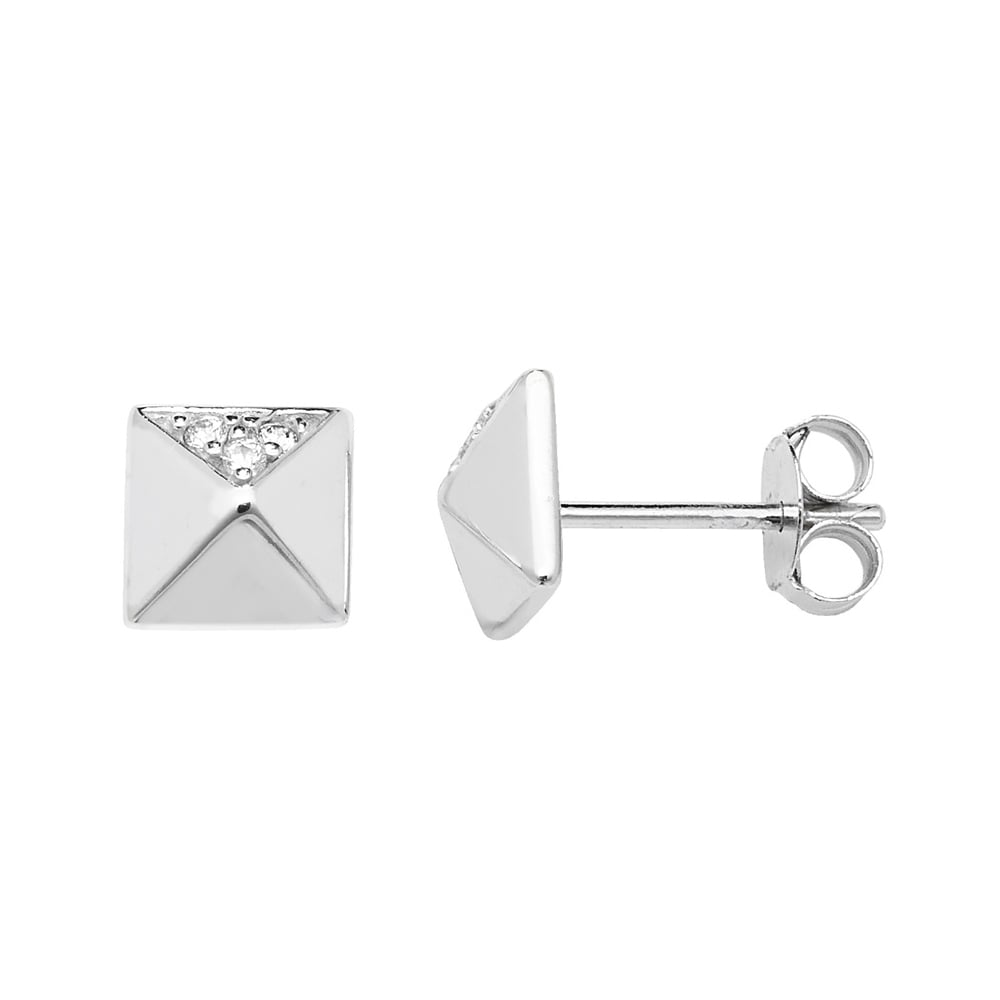 a07f603b9 Sterling Silver Cubic Zirconia Square Stud Earrings - Earrings from ...