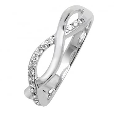 Sterling Silver Cubic Zirconia Twisted Band