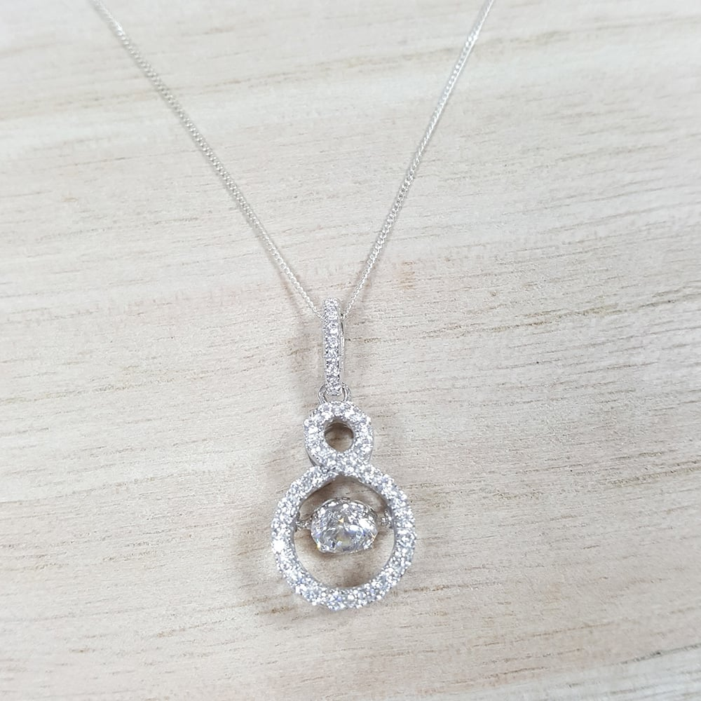 0faad4a246 Sterling Silver Dancing Cubic Zirconia Infinity Pendant and Chain ...