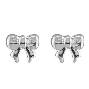 Sterling Silver Detailed Bow Stud Earrings