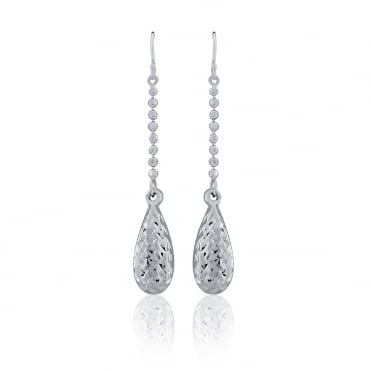 Sterling Silver Diamond Cut Bombe Drop Earrings