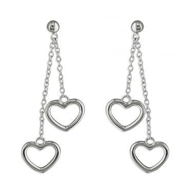 Sterling Silver Double Drop Open Hearts Earrings