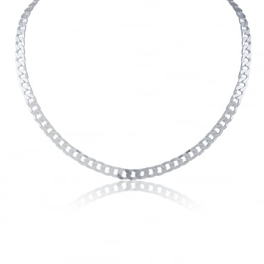 Sterling Silver Flat Heavyweight Curb Chain 20 Inch