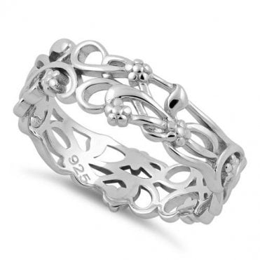 Sterling Silver Floral Vines Band Ring