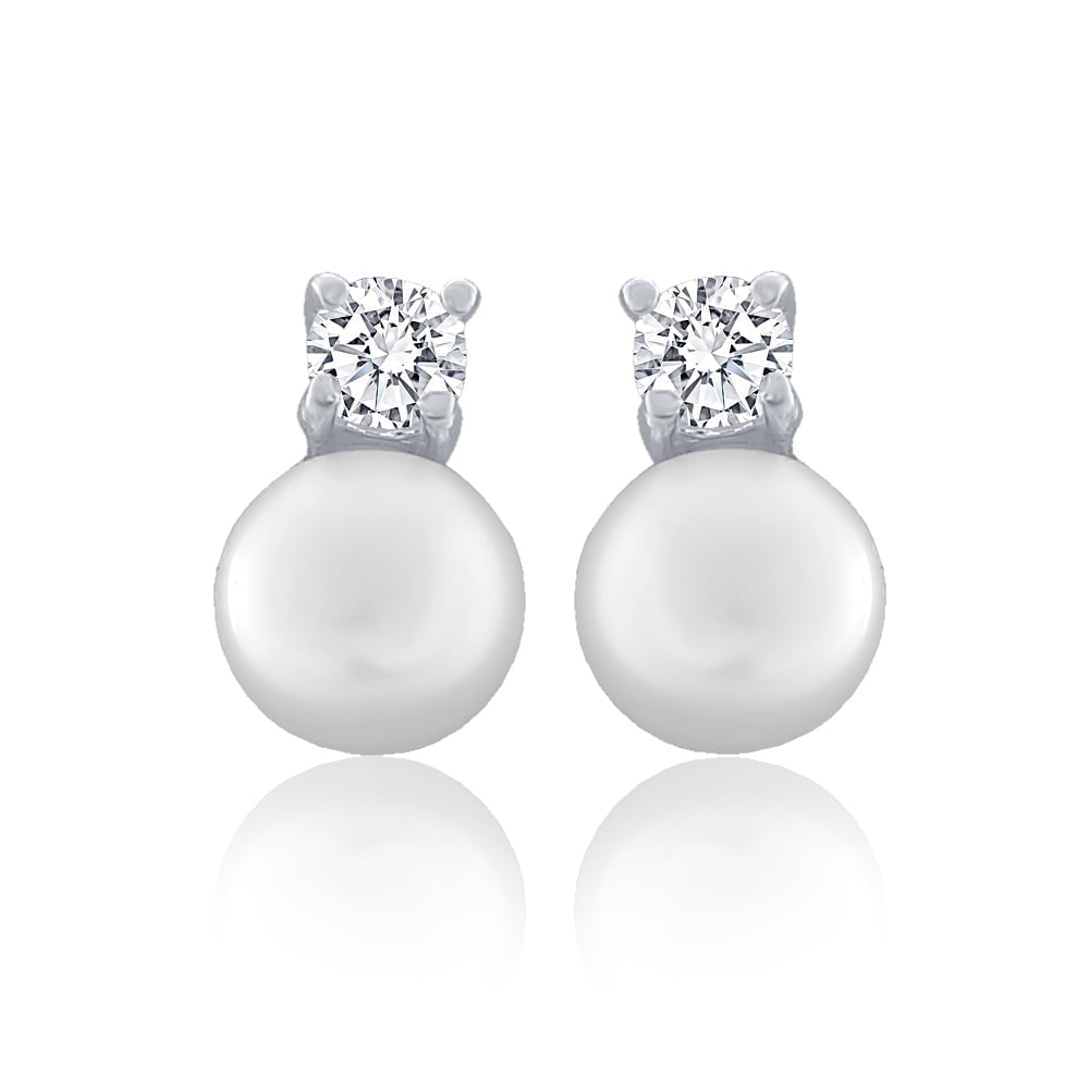 570305bc8ed Sterling Silver Freshwater Pearl And Cubic Zirconia Stud Earrings