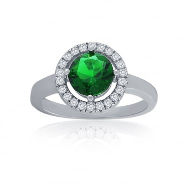Sterling Silver Green Cubic Zirconia Halo Ring