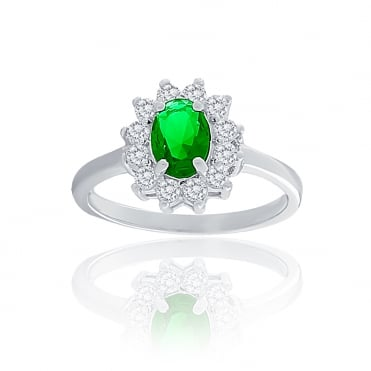 Sterling Silver Green Cubic Zirconia Oval Cluster Ring