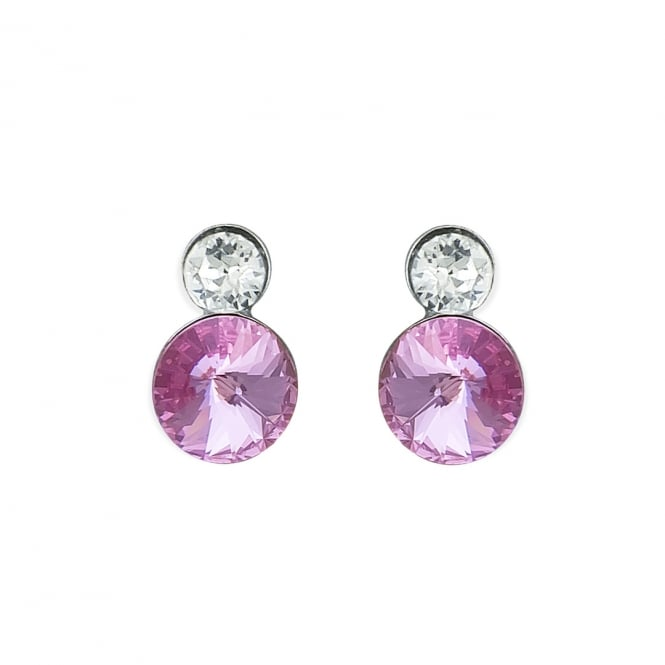 Sterling Silver Lilac and Clear Crystal Stud Earrings
