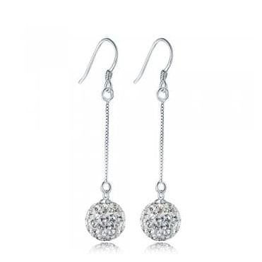 Sterling Silver Long Crystal Set Glitterball Drop Earrings