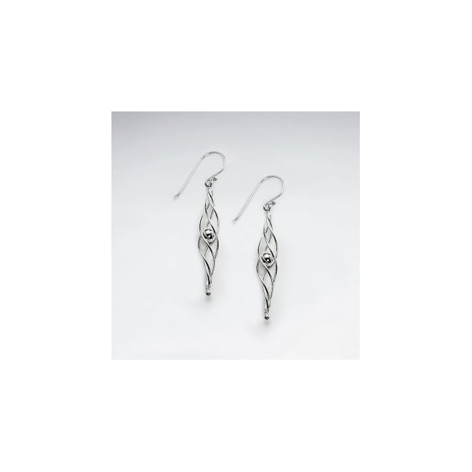 Sterling Silver Long Twisted Ball Earrings