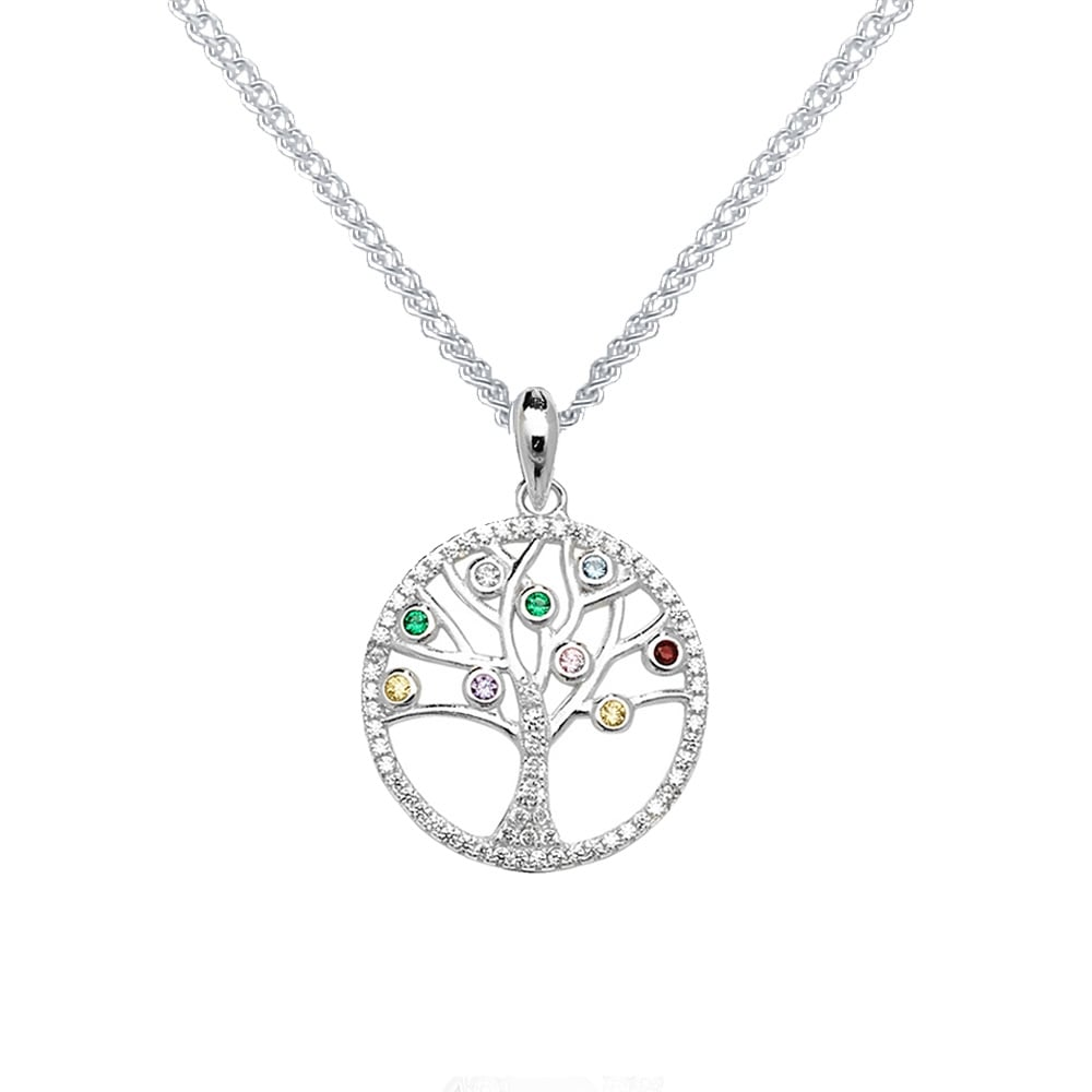 Sterling silver multi cubic zirconia tree of life pendant and sterling silver multi cubic zirconia tree of life pendant and chain mozeypictures Gallery