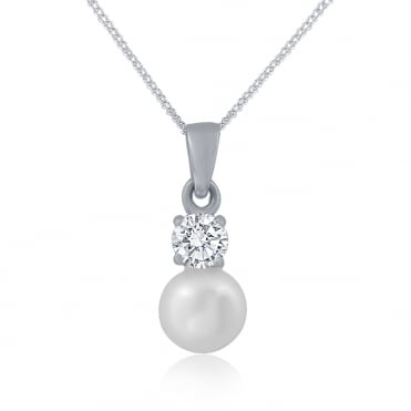 Sterling Silver Pearl And Cubic Zirconia Pendant And Chain