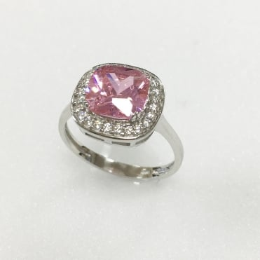 Sterling Silver Pink Cubic Zirconia Cushion Halo Ring