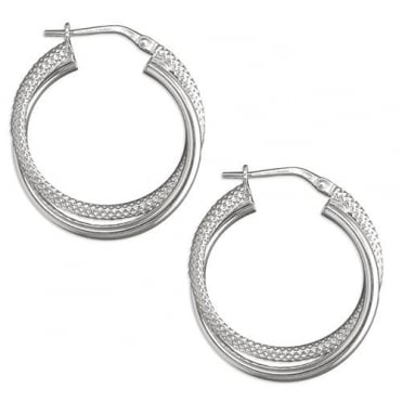 Sterling Silver Polished And Textured Twisted Hoops