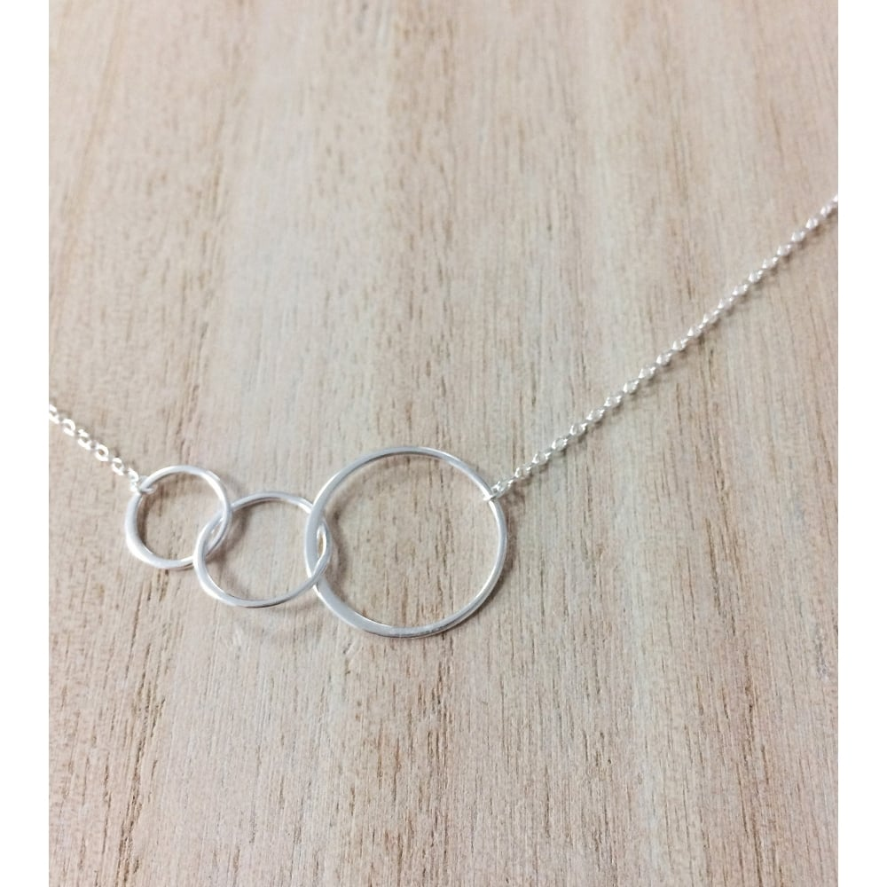 silver circle simple pin necklace triple minimalist sterling three
