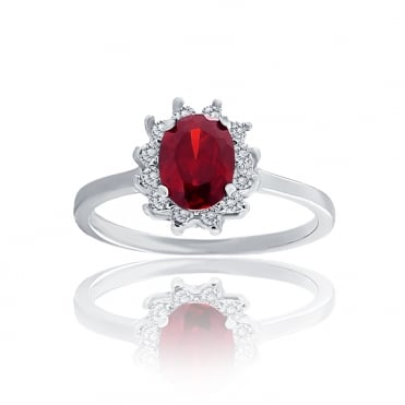 Sterling Silver Red Cubic Zirconia Oval Cluster Ring