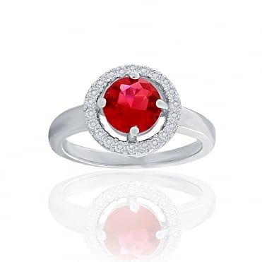 Sterling Silver Red Cubic Zirconia Round Halo Ring