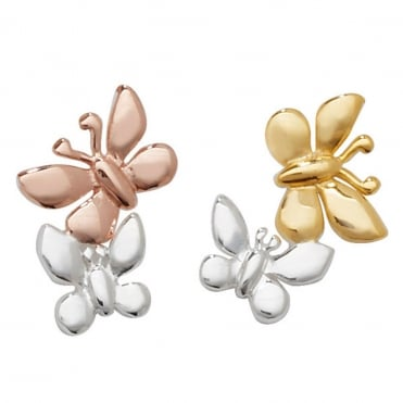 Sterling Silver Rose and Yellow Gold Finish Butterfly Stud Earrings