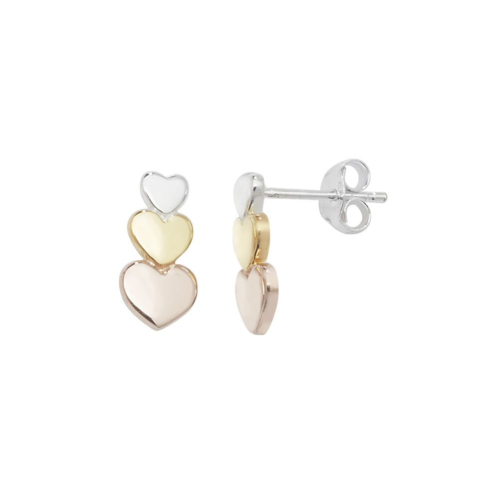 bb8c5903e Sterling Silver Rose And Yellow Gold Finish Triple Heart Stud Earrings