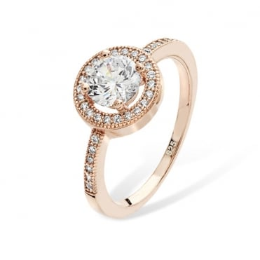 Sterling Silver Rose Gold Cubic Zirconia Halo Ring