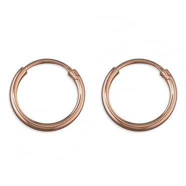 Sterling Silver Rose Gold Finish 13mm Slim Hoops