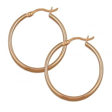 Sterling Silver Rose Gold Finish 28mm Creole Hoop Earrings
