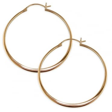 Sterling Silver Rose Gold Finish 50mm Large Hoop Earrings