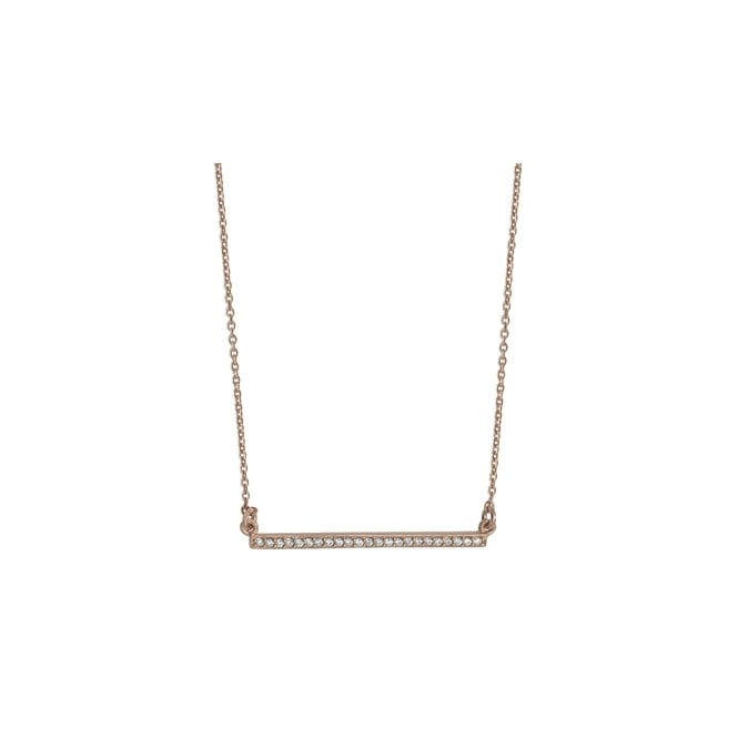 Sterling Silver Rose Gold Finish Cubic Zirconia Bar Necklace