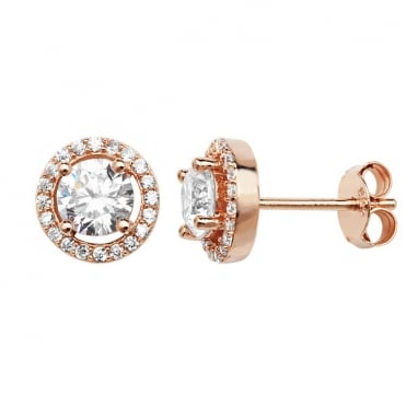 Sterling Silver Rose Gold Finish Cubic Zirconia Classic Halo Stud