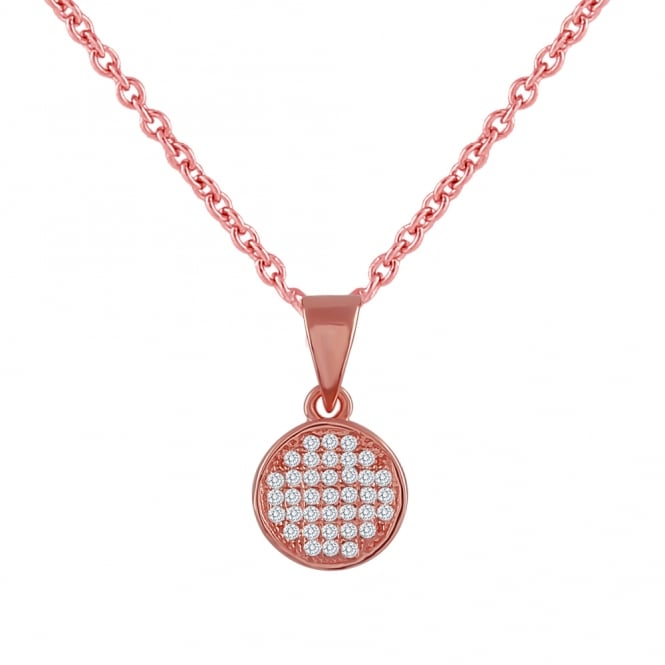 Sterling Silver Rose Gold Finish Cubic Zirconia Concave Pendant And Chain