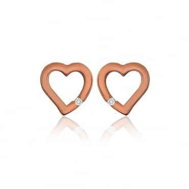 Sterling Silver Rose Gold Finish Cubic Zirconia Cut Out Heart Stud Earrings