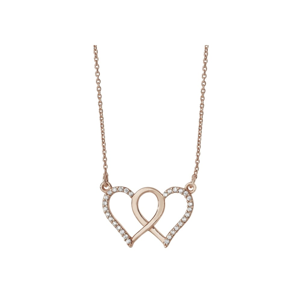 diamond silver in tw necklace double sterling with heart