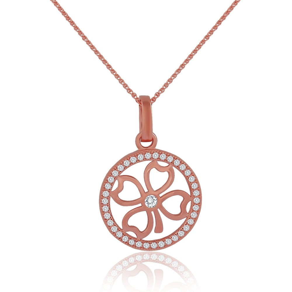 Sterling silver rose gold finish cubic zirconia four leaf clover sterling silver rose gold finish cubic zirconia four leaf clover pendant mozeypictures Image collections