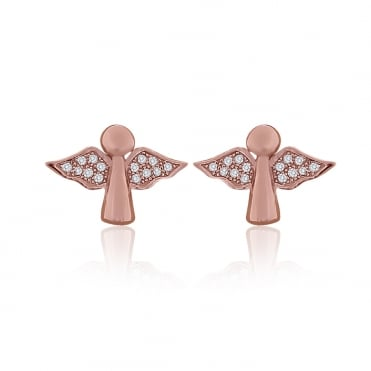 Sterling Silver Rose Gold Finish Cubic Zirconia Guardian Angel Stud Earrings