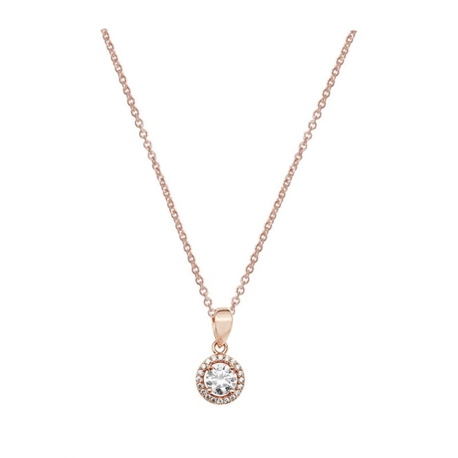 Sterling Silver Rose Gold Finish Cubic Zirconia Halo Pendant