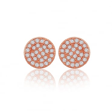 Sterling Silver Rose Gold Finish Cubic Zirconia Round Stud Earrings