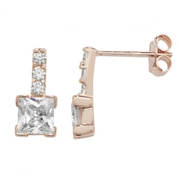 Sterling Silver Rose Gold Finish Cubic Zirconia Square Drop Earrings