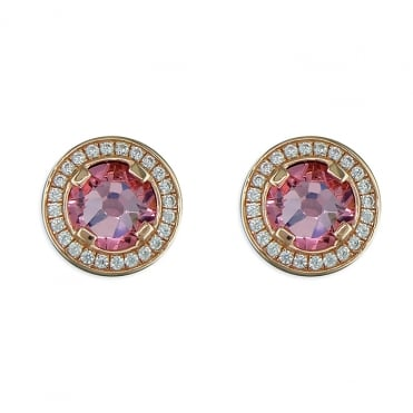 Sterling Silver Rose Gold Finish Pink Cubic Zirconia Halo Stud Earrings